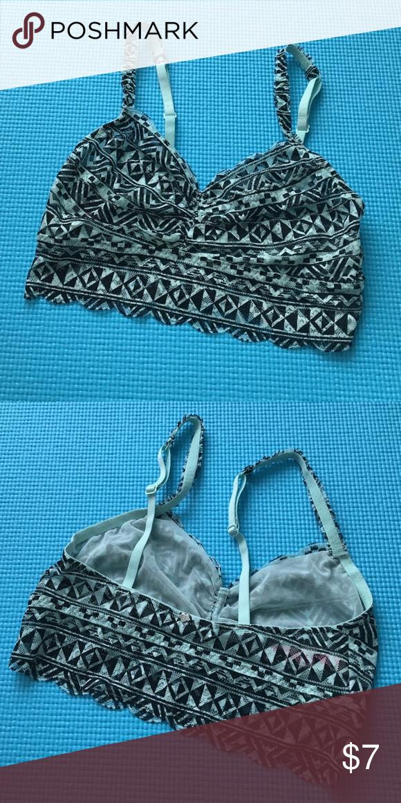 a5dc2bb6cec7c1 VS PINK Mint Aztec Print Lace Bralette