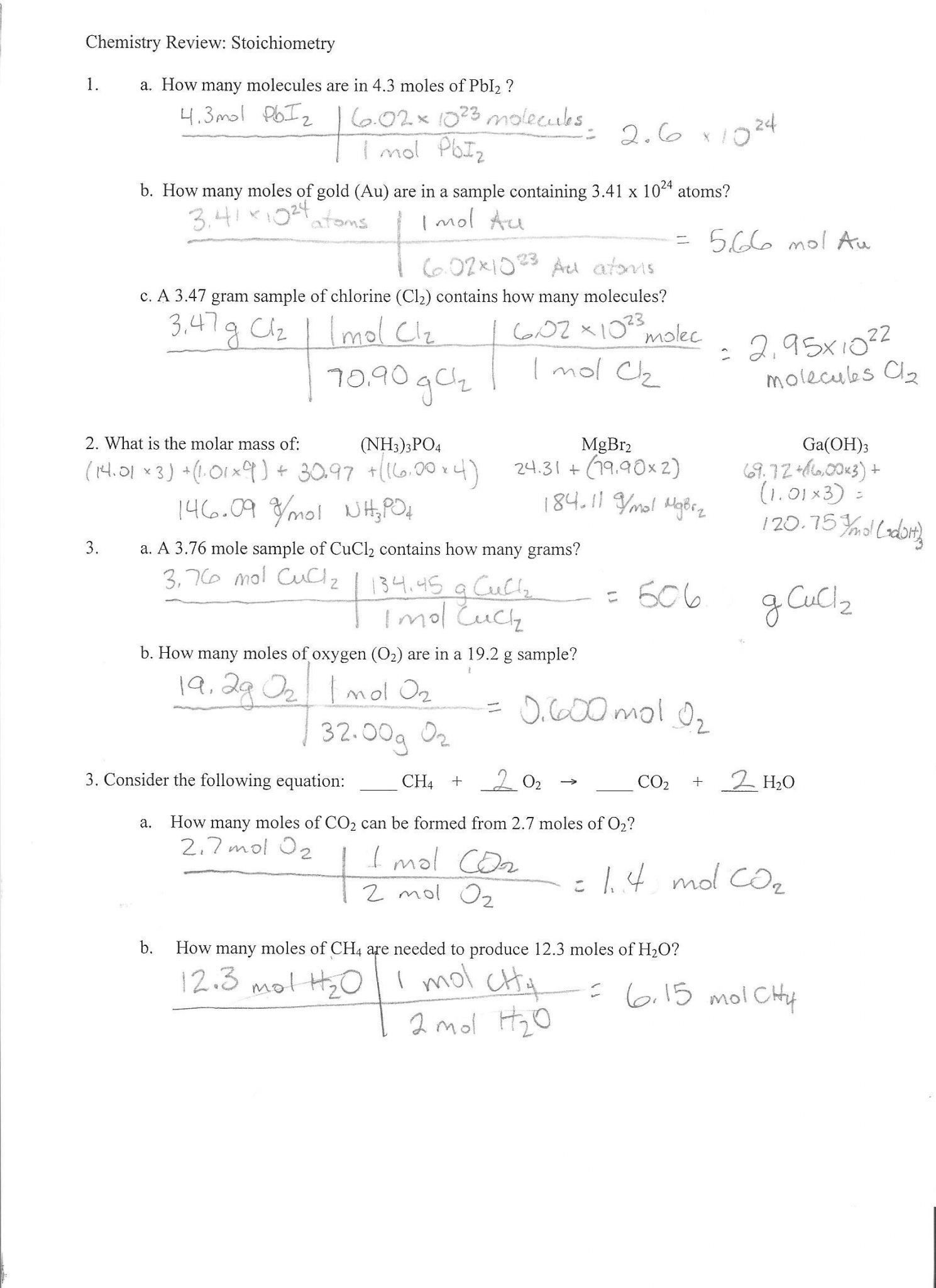 Academic Stoichiometry Mole Mole Problems Worksheet Answers