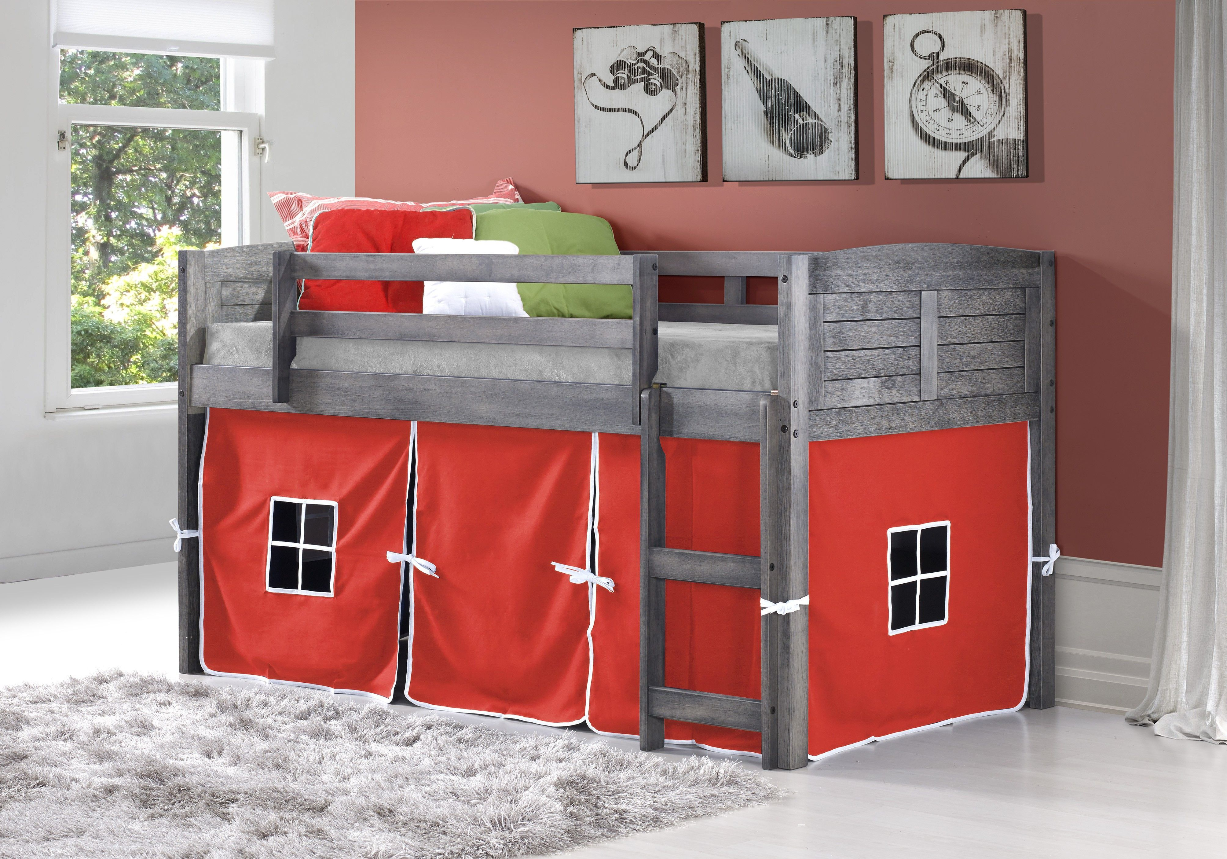 Twin low loft bed with slide  Rustic Hideaway Loft Bed  Kool kids and Products