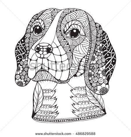 Beagle Dog Head Zentangle Stylized Vector Illustration Freehand