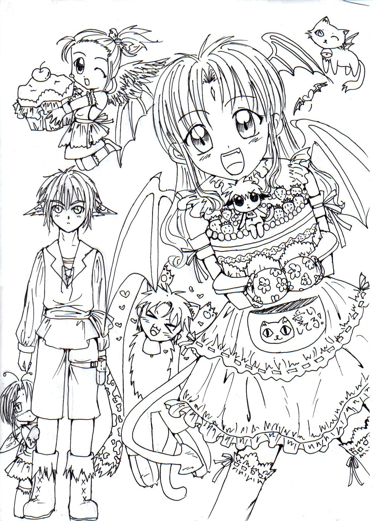 Magic magic choco cake lineart by bunnifyviantart on