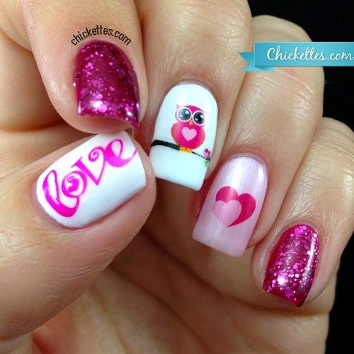 Owl Love Nail Art With Water Decals Nails Pinterest Owl