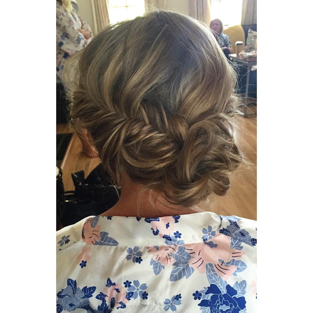 Makeup by Sophie Knox - bridal hair, bridesmaid hairstyle, bridal hairstyle, braided hair up, messy bun, boho hair, romantic hairstyle.