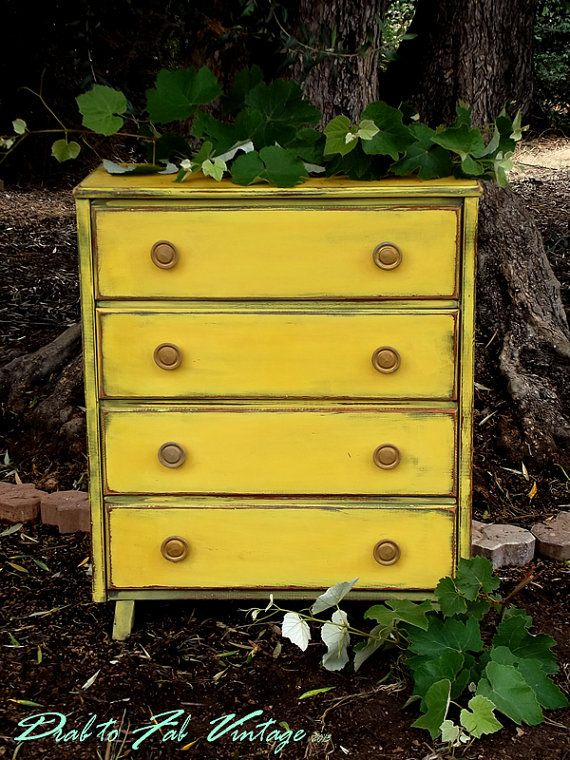 Vintage Yellow Dresser Small Wood Dresser Painted Lemon Yellow
