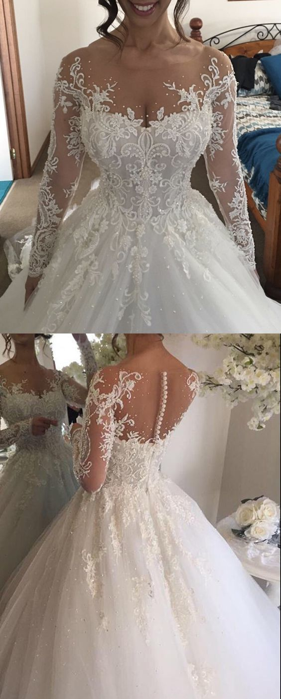 Ball gown illusion jewel long sleeves wedding dress with beading
