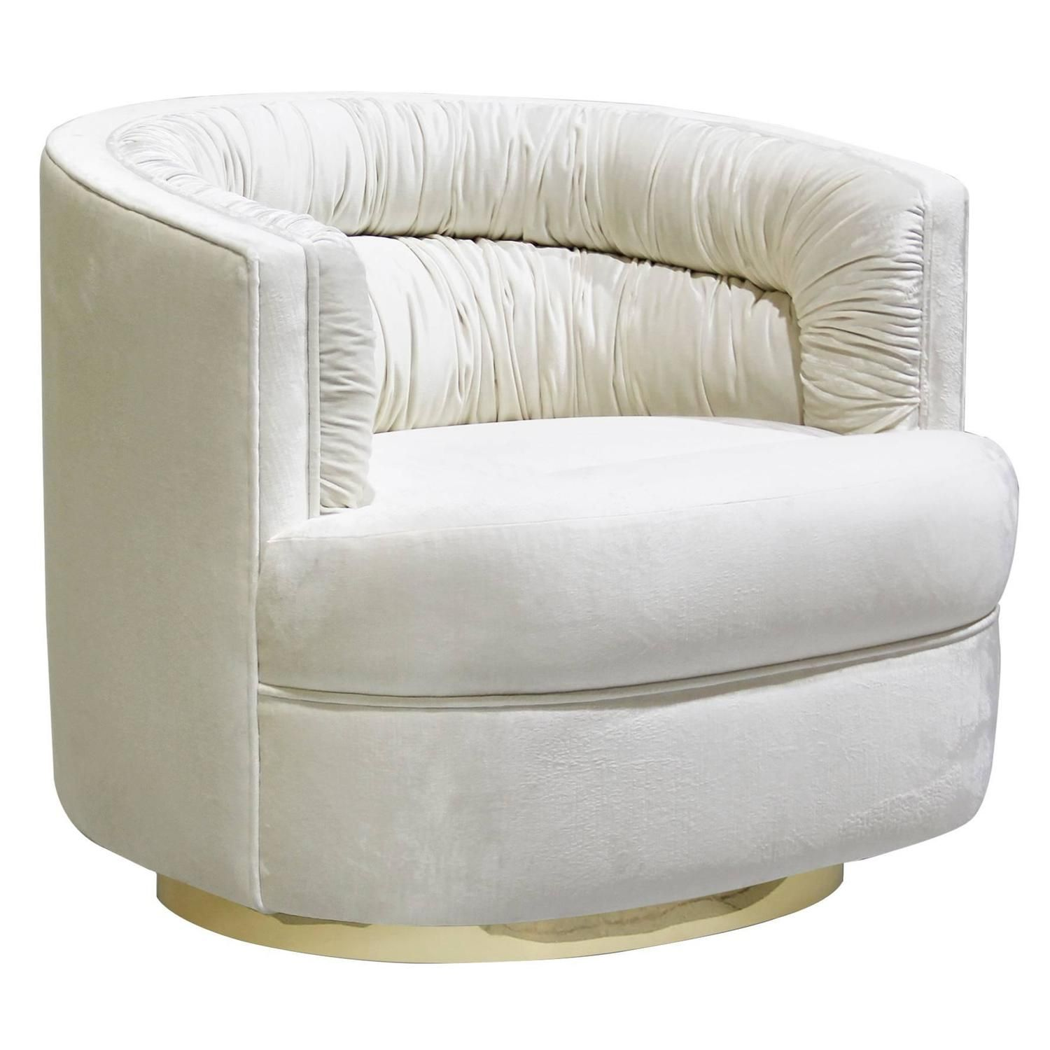 Pair of European and Brass Velvet Cocktail Lounge Armchairs by Koket