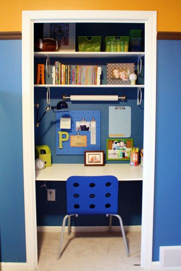 with the kind of custom closet things you can do with ikea(-like) stuff, it totally makes sense to use a small closet as an efficient work station, instead of inconvenient storage.