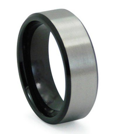 Black Anium Mens Wedding Band Matte Finish