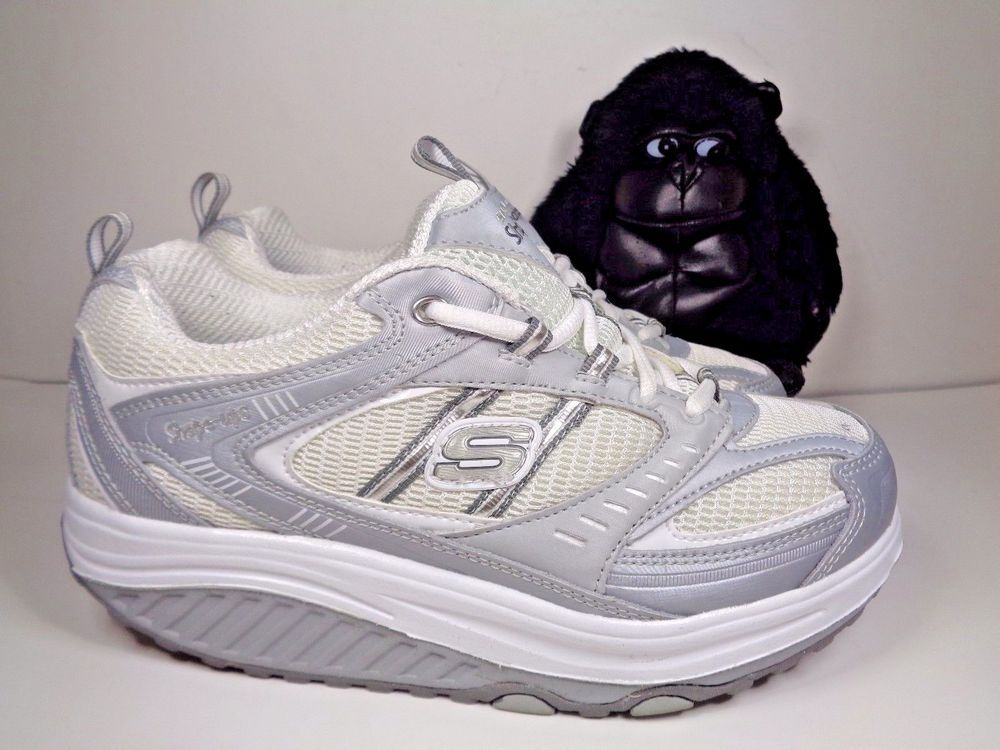 Women's SKECHER Fitnness Shape Ups SN11814 Running Shoes US Sz 9 Silver White