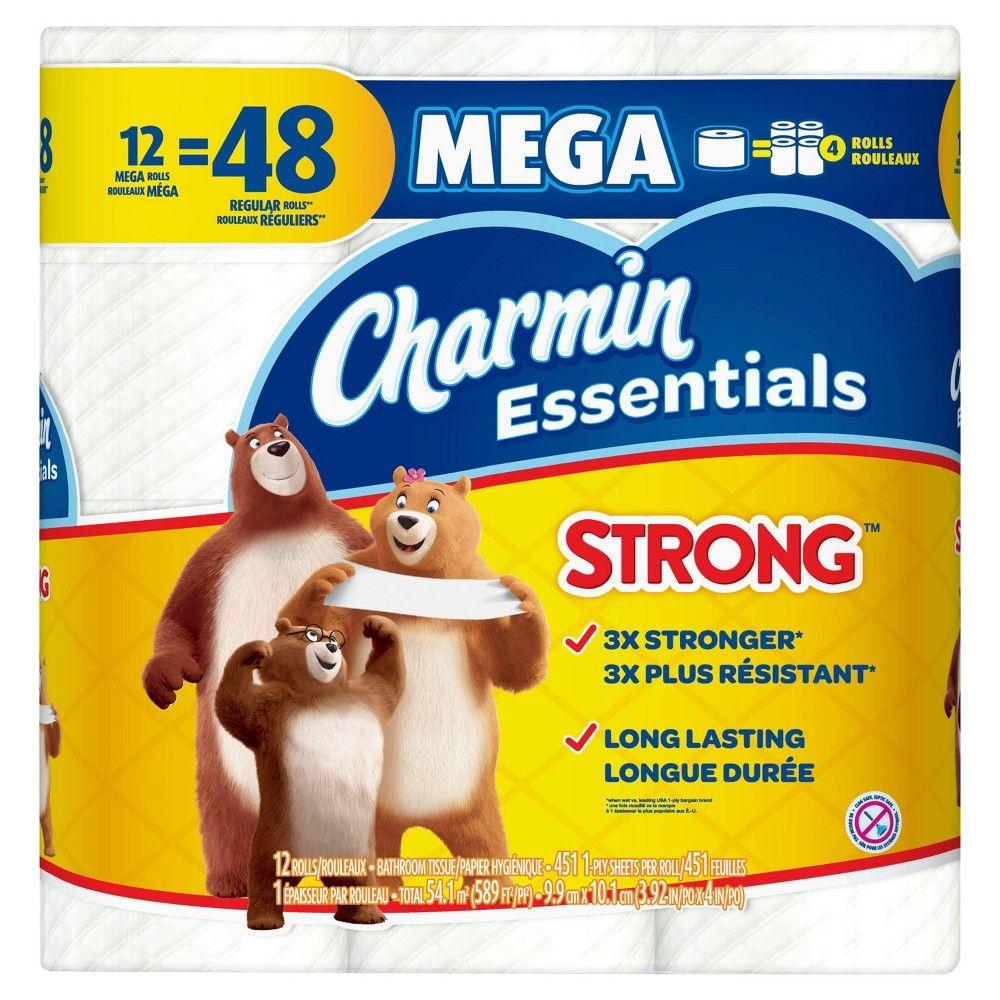 Charmin Essentials Strong Toilet Paper 12 Mega Rolls Toilet