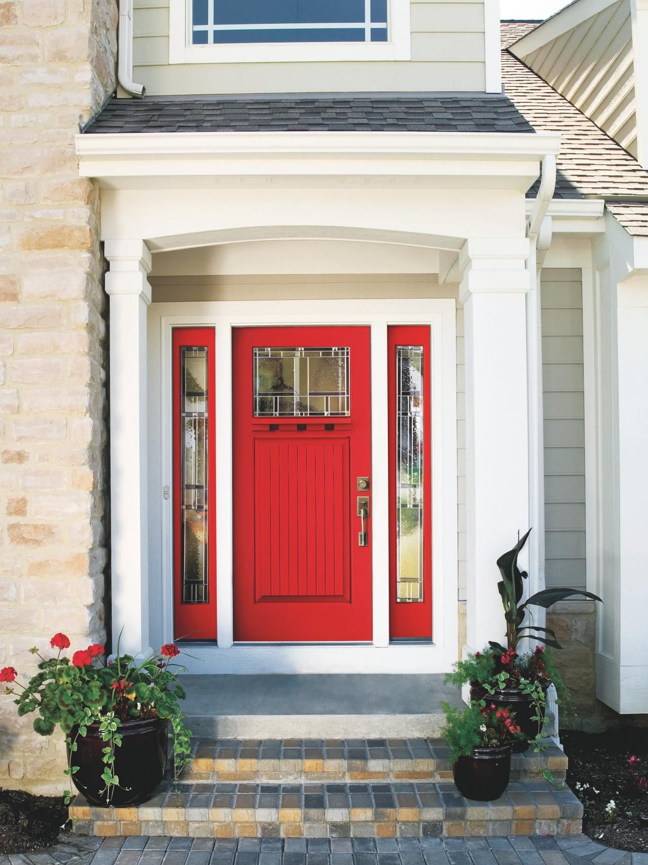 Creating A Charming Entryway With Red Front Doors Craftsman Front Doors Front Door Design Craftsman Door