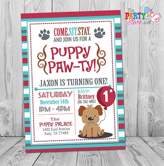Puppy Invitation Custom Printable Boys Puppy First Birthday Party Invitations Pu Puppy Birthday Invitations Puppy Invitations Dog Birthday Party Invitations
