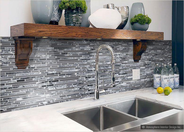 white countertop gray marble glass backsplash tile