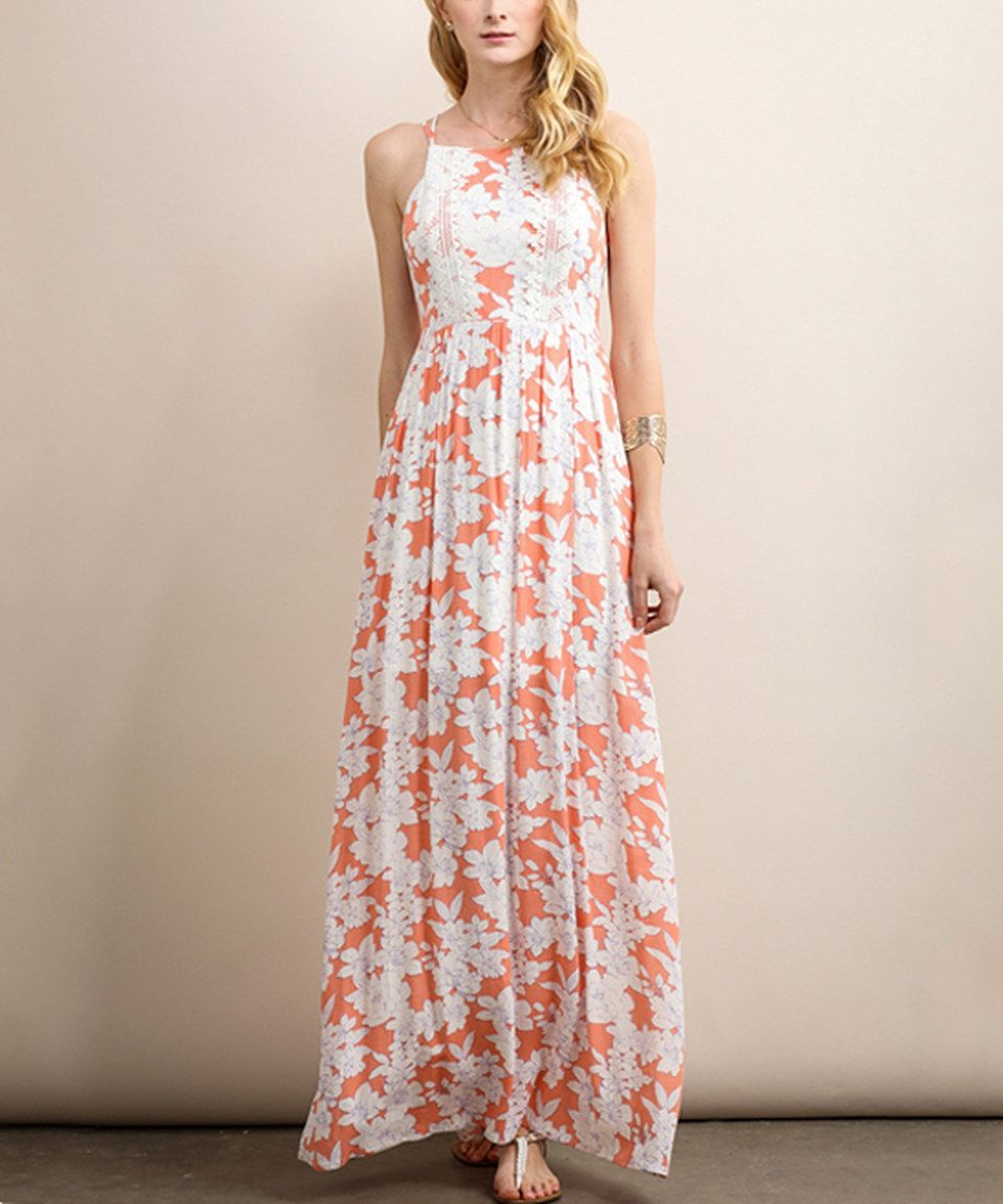 Another great find on #zulily! Soiéblu Coral Floral Open-Back Maxi Dress by Soiéblu #zulilyfinds