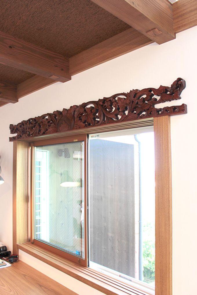 アジアンレリーフ パネル 窓枠 窓枠 インテリア 彫刻