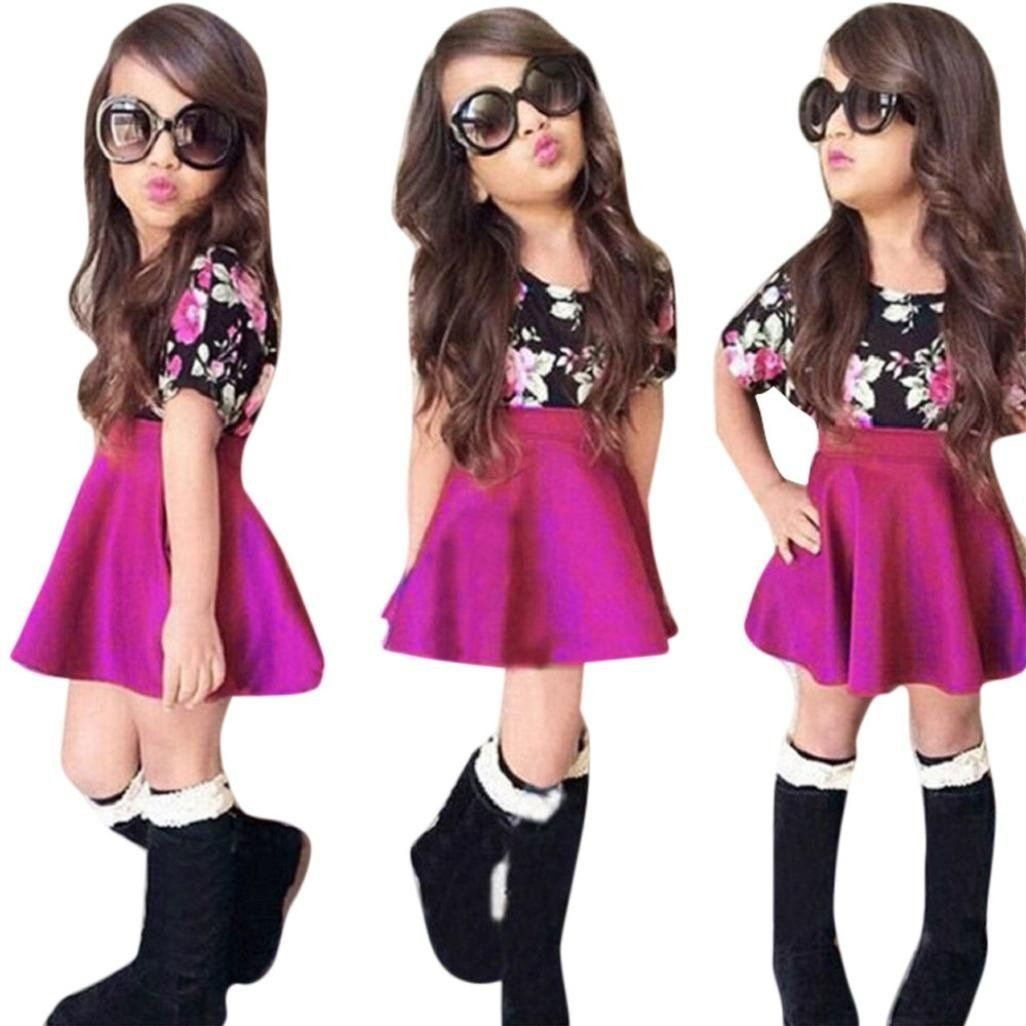 41c27cbc8307 2PCS Kids Baby Girls Summer Outfit Clothes Floral T-shirt Tops+Short Skirt  Set. Material  Cotton Blend. Style fashion floral print
