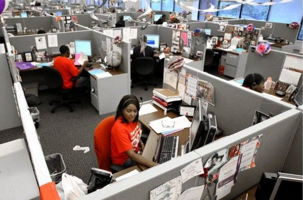 Terry Lowery is among the employees in the FedEx call center at - fedex jobs