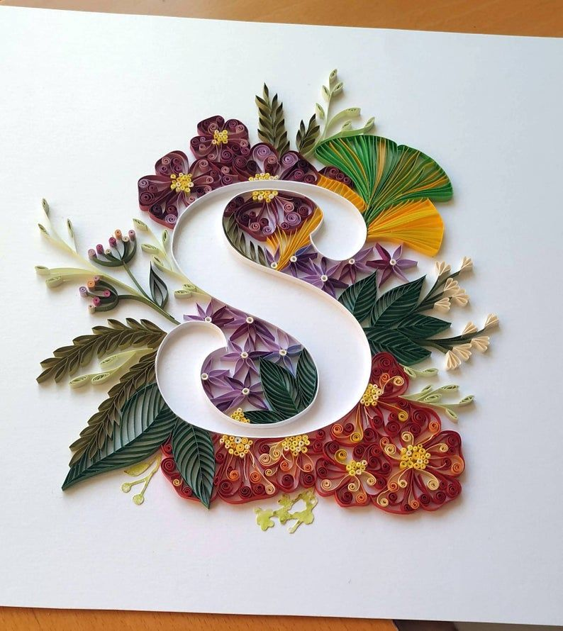 Personalized Letter Gift Floral Quilled Monogram S Wall Art Etsy Quilling Letters Paper Quilling Designs Quilled Paper Art