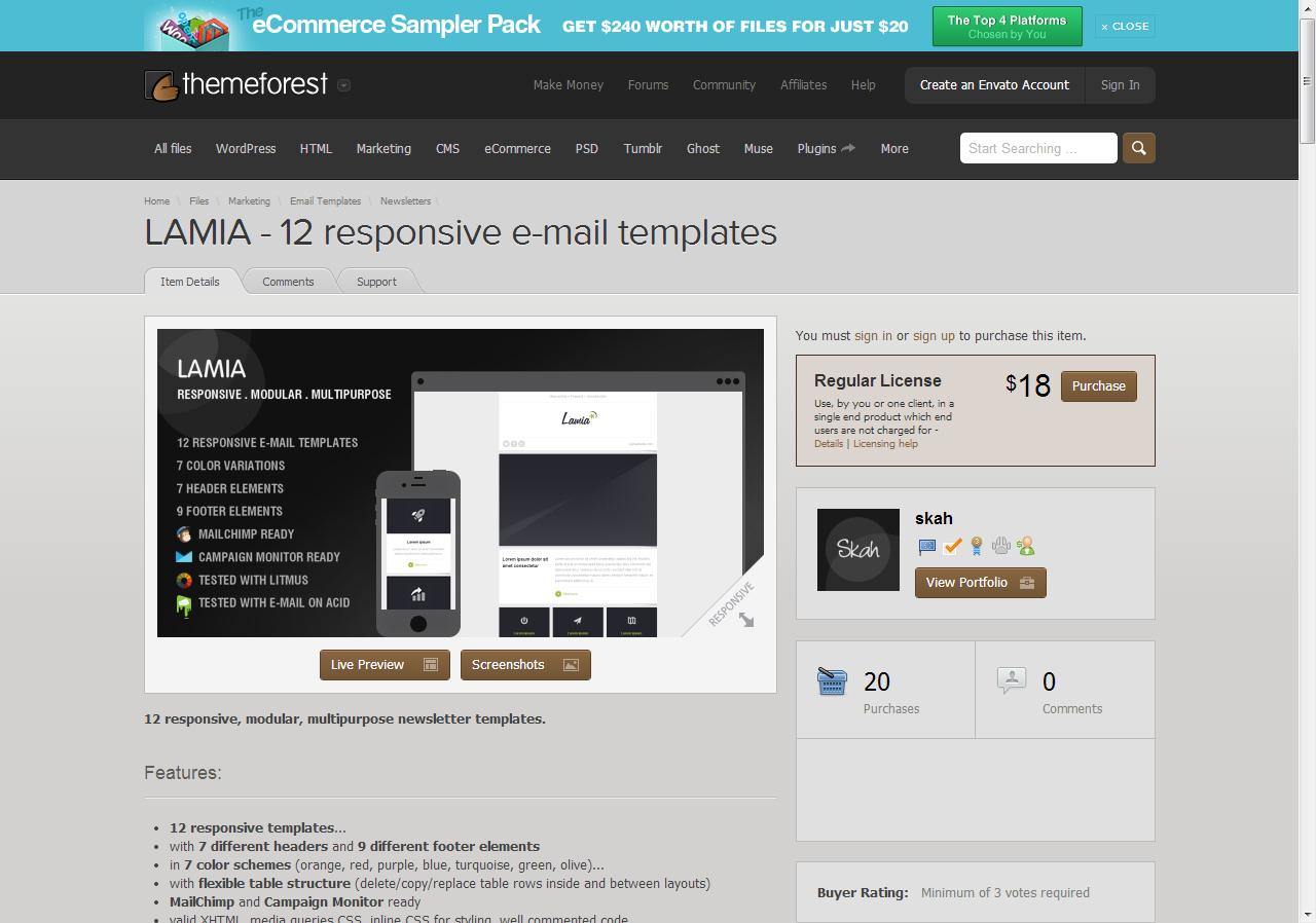 Marketing - LAMIA - 12 responsive e-mail templates   ThemeForest ...