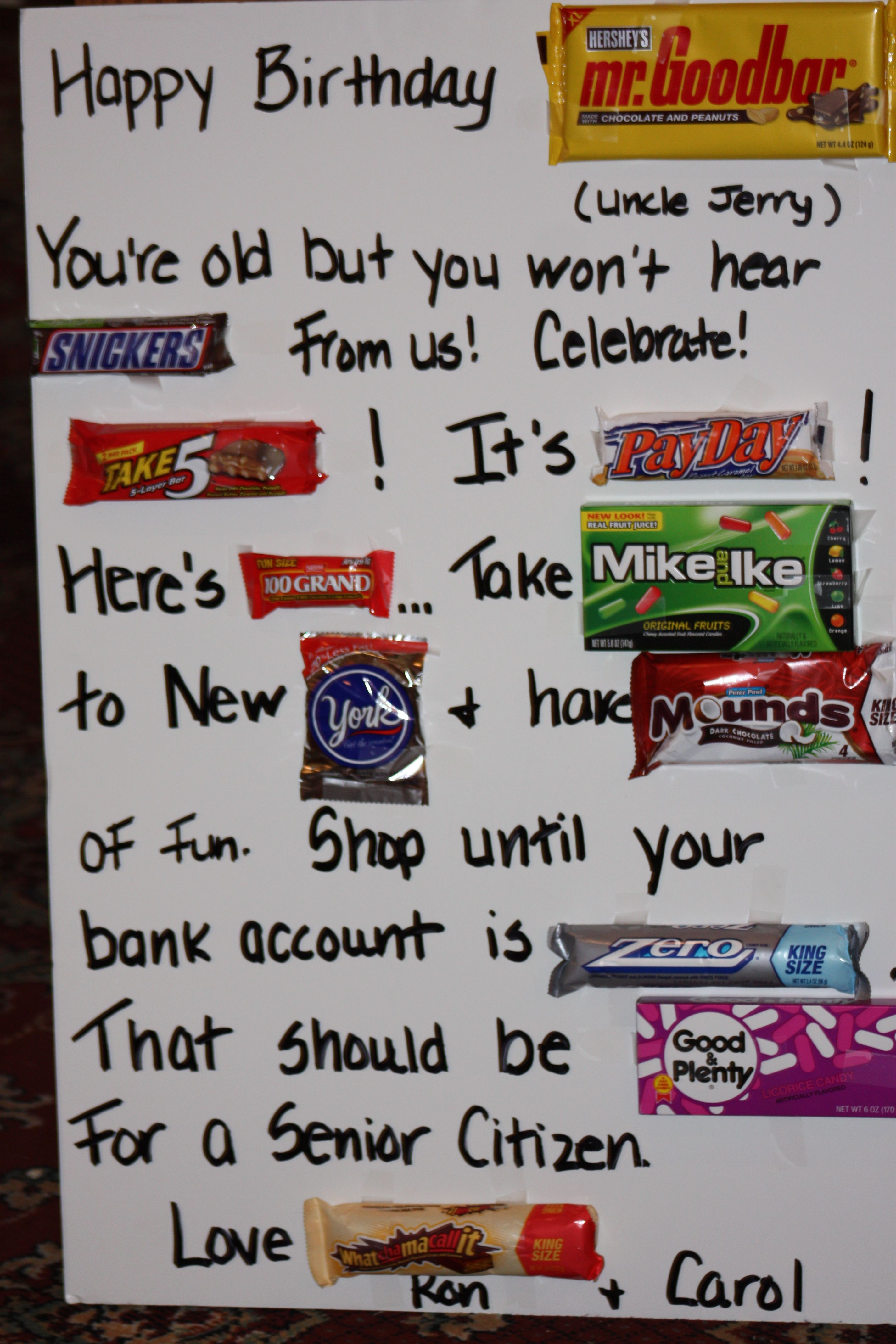 Candy Bar Birthday Poem : candy, birthday, Candy, Card-, Revised, Uncle, Happy, Birthday, Posters,, Card,, Cards