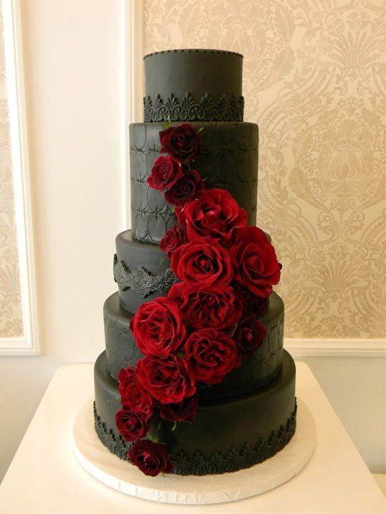 15 Stunning Black Wedding Cakes Em 2020 Bolo De Casamento