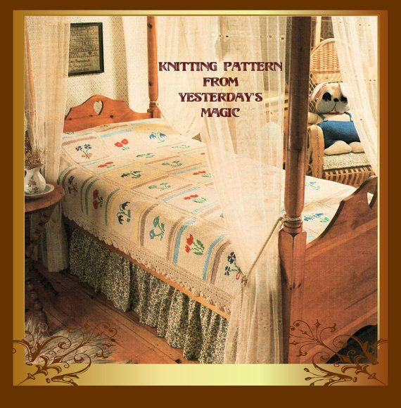 Instant Download PDF Eighties Knitting Pattern to make an Heirloom Country Cottage Bedspread Blanket Afghan Patchwork Wild Flowers Lace Trim