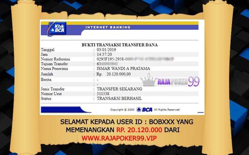 Selamat Kepada MEMBER SETIA RAJAPOKER99 dengan user ID
