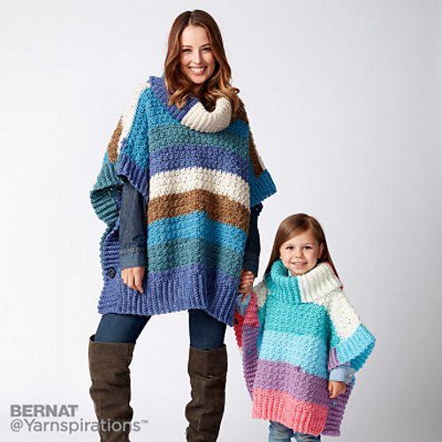Ravelry Mom And Me Crochet Ponchos Pattern By Bernat Design Studio Amazing Crochet Poncho Pattern Ravelry