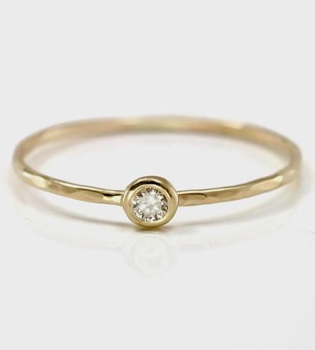 Champagne Diamond & Gold Stacking Ring
