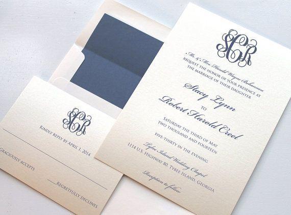 Elegant monogram wedding invitations google search