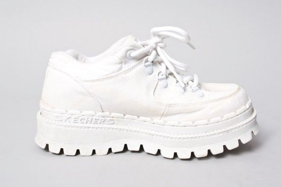 94319eeae82a 90s Vintage White Spice Girls Lug Sole Club Kid Rave Sketchers Platform  Boot