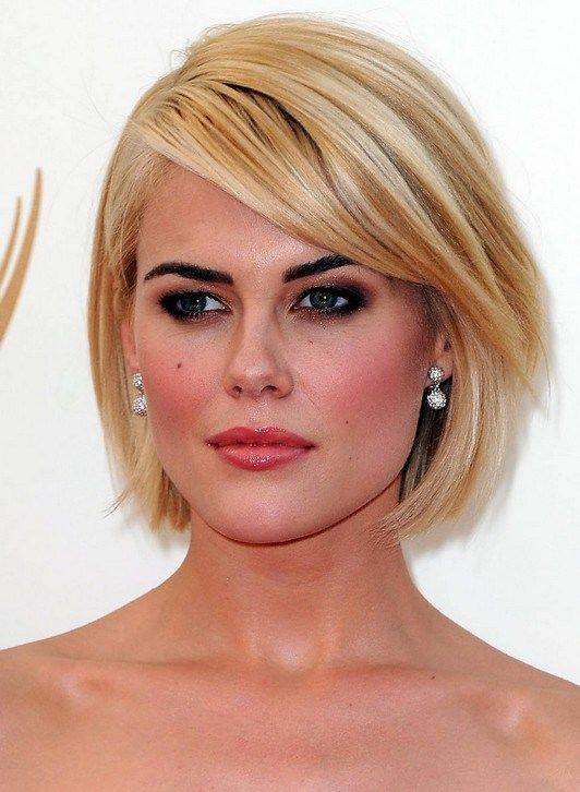Short Blonde Bob Hairstyle With Side Swept Bangs For 2014 Capelli