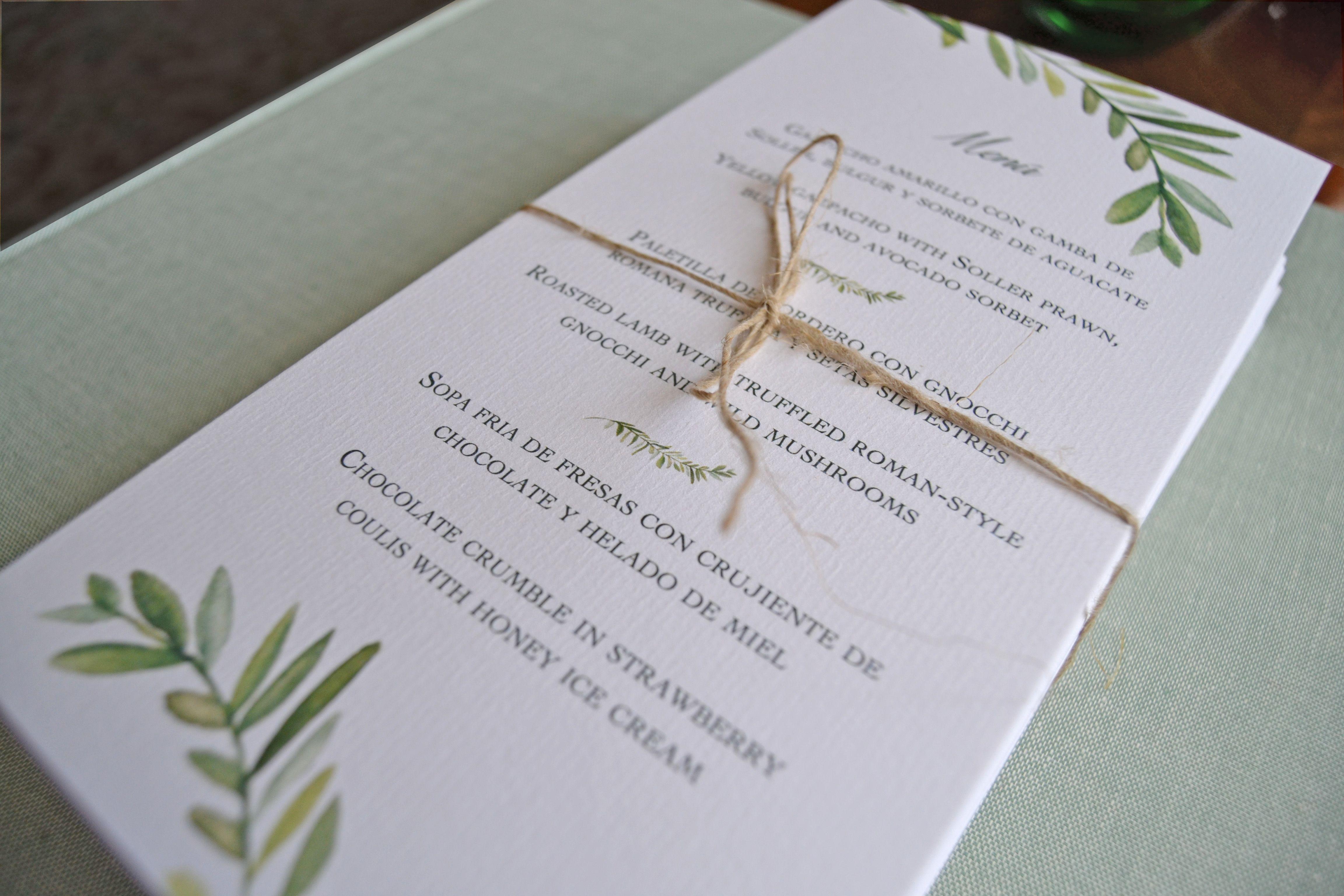 Menús para bodas con diseño de hojas de laurel en acuarela By Silvia Galí. www.silviagali.com