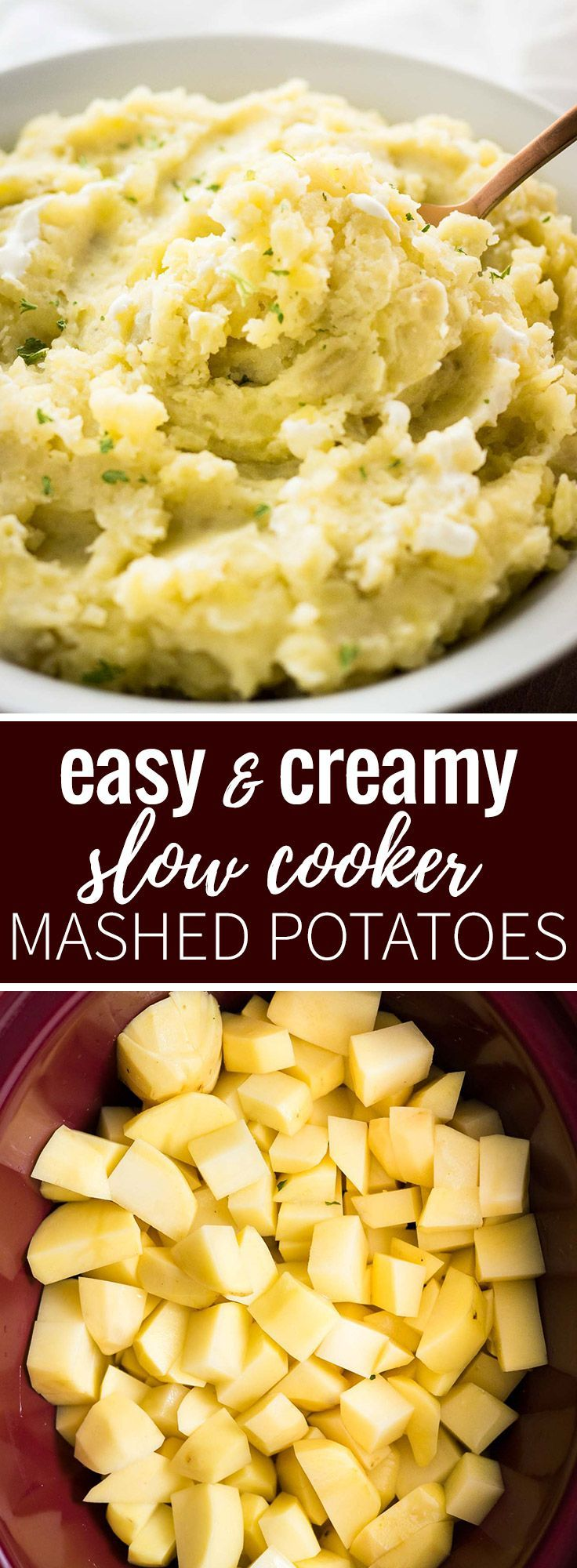 This Creamy Crock Pot Mashed Potatoes Recipe is SO easy and perfect to make ahead! A delicious slow cooker side dish for any meal throughout the fall and winter.