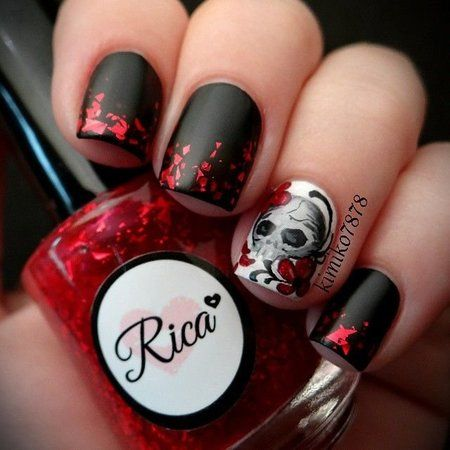 I love the matte black and the red flakes on top! | Skull ...