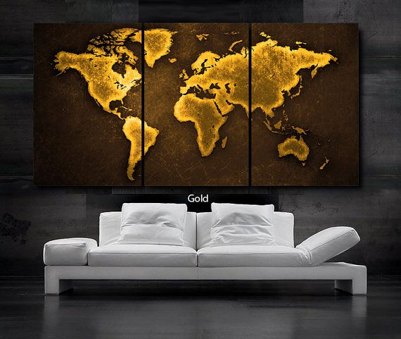 Large 30x 60 3 panels art canvas print world map select color gold large 3 panels art canvas print world map black white contrast wall home office decor interior included framed depth gumiabroncs Gallery