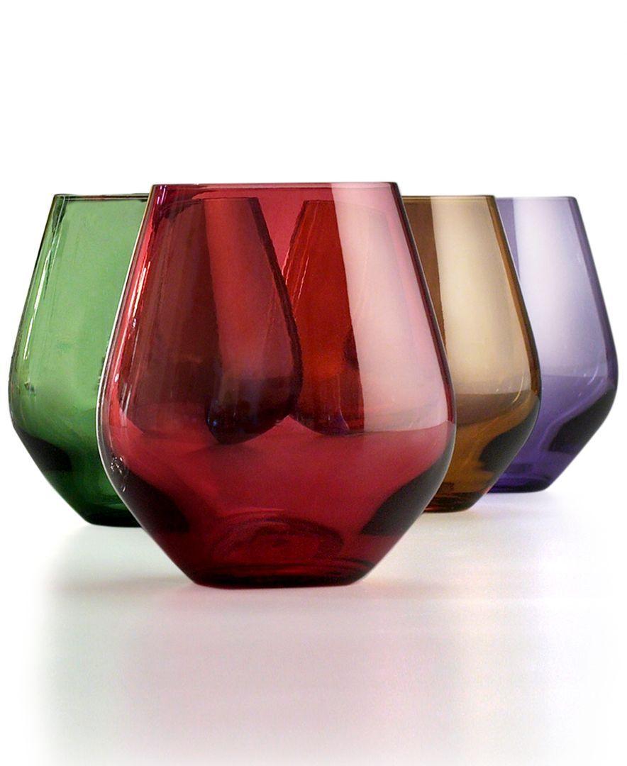 Lenox Stemware Tuscany Harvest Stemless Wine Glasses Set Of 4 In 2020 Stemless Wine Glasses Stemware Colored Wine Glasses