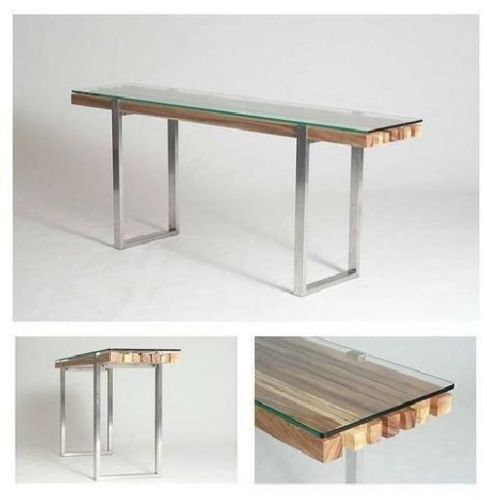 "72"" console table stainless steel legs solid acacia wood glass top"