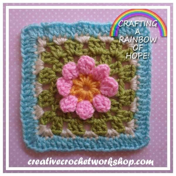 DAISY IN A SQUARE RAINBOW SQUARE SERIES CREATIVE CROCHET WORKSHOP