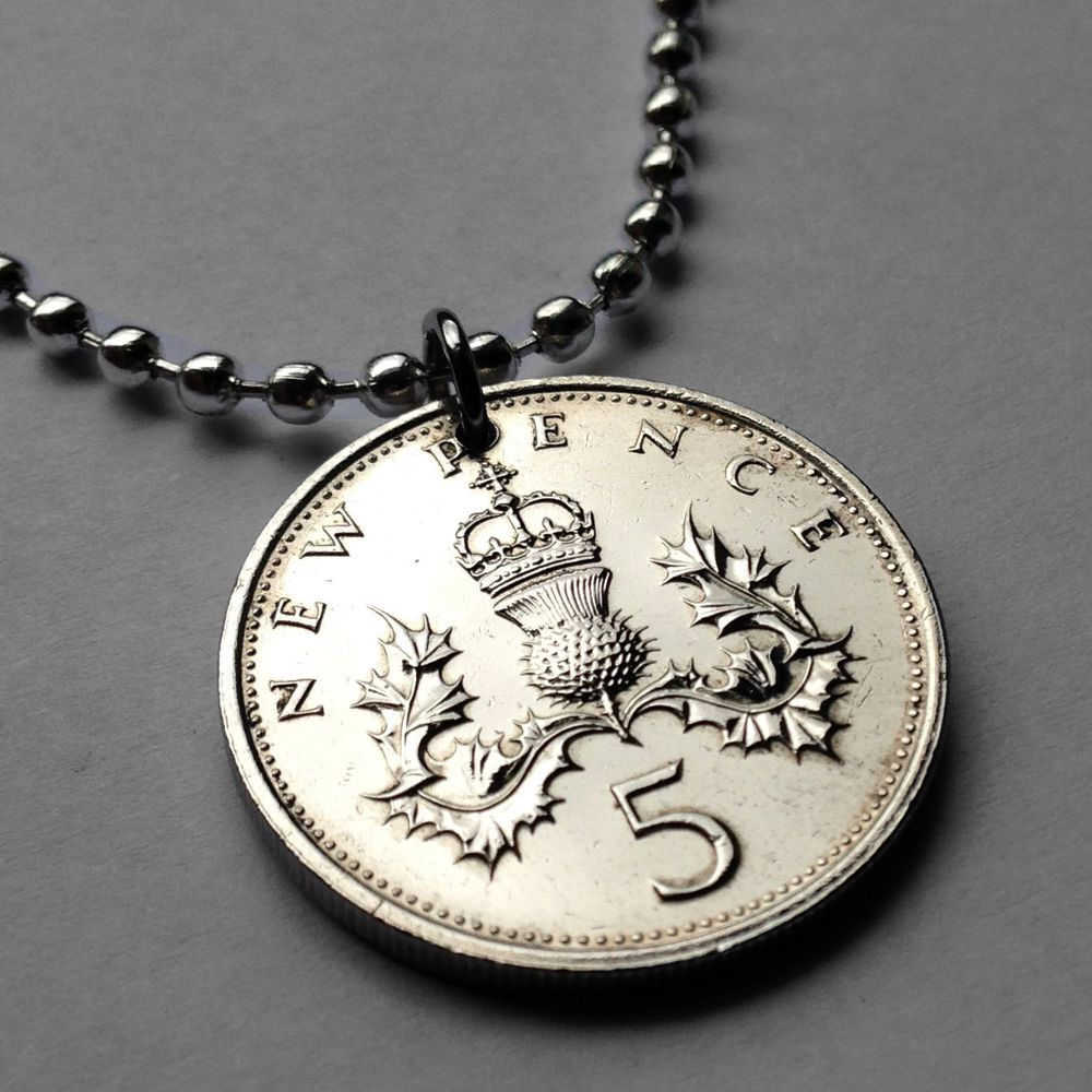 Great Britain 5 pence coin pendant THISTLE plant flower necklace jewelry n000235 #coinedJewelry #Pendant