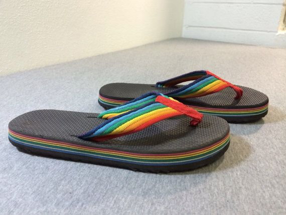 80's FLIP FLOPS Rainbow Thick Foam Sandals by sweetVTGtshirt