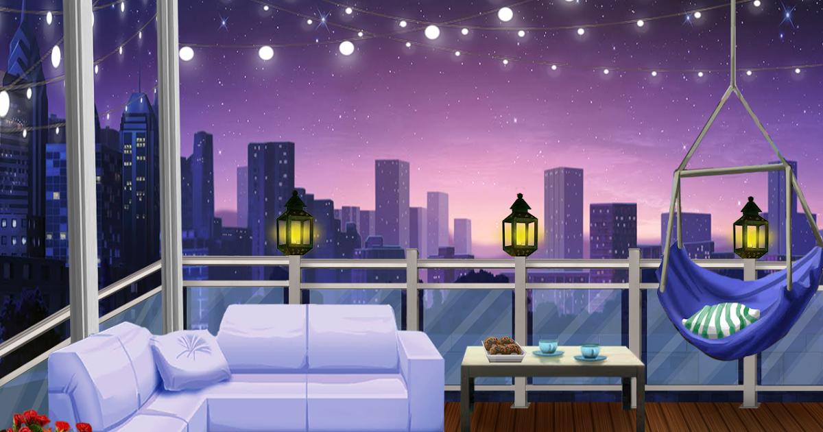 EXT. COZY BALCONY 5 - NIGHT | Cenário anime, Fundo de ...