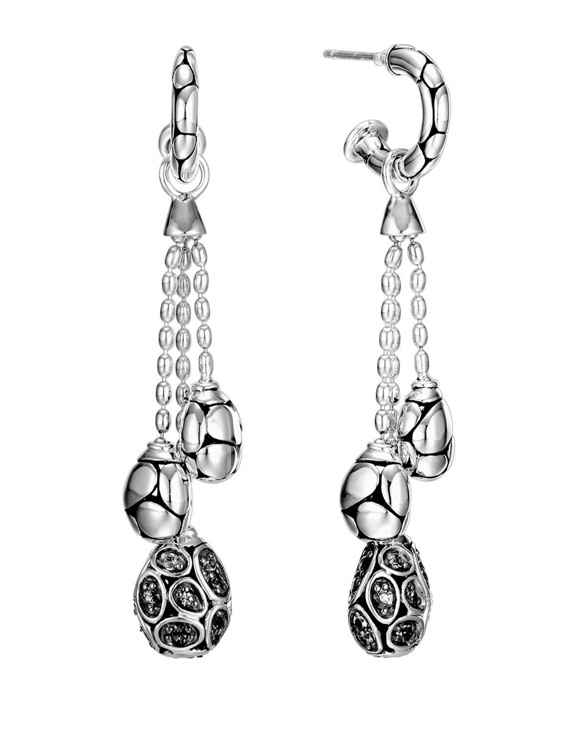 John Hardy Kali Silver Lava Drop Earrings w/ Black Sapphires rL334YSy4l