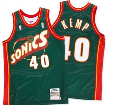 478550f64 Seattle Sonics 40  Shawn Kemp Swingman Jersey Green