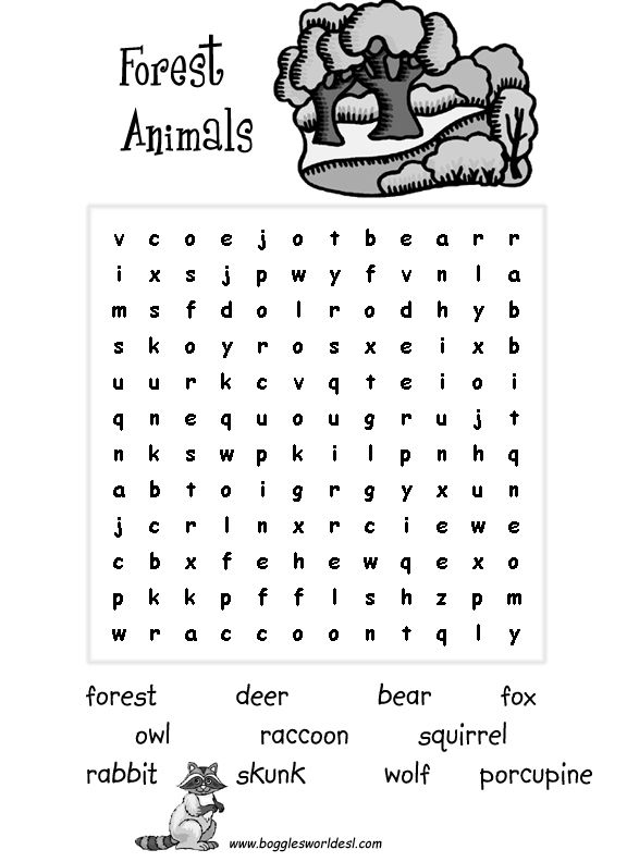 Forest Animal Easy Wordsearch   word search   Pinterest   The ...