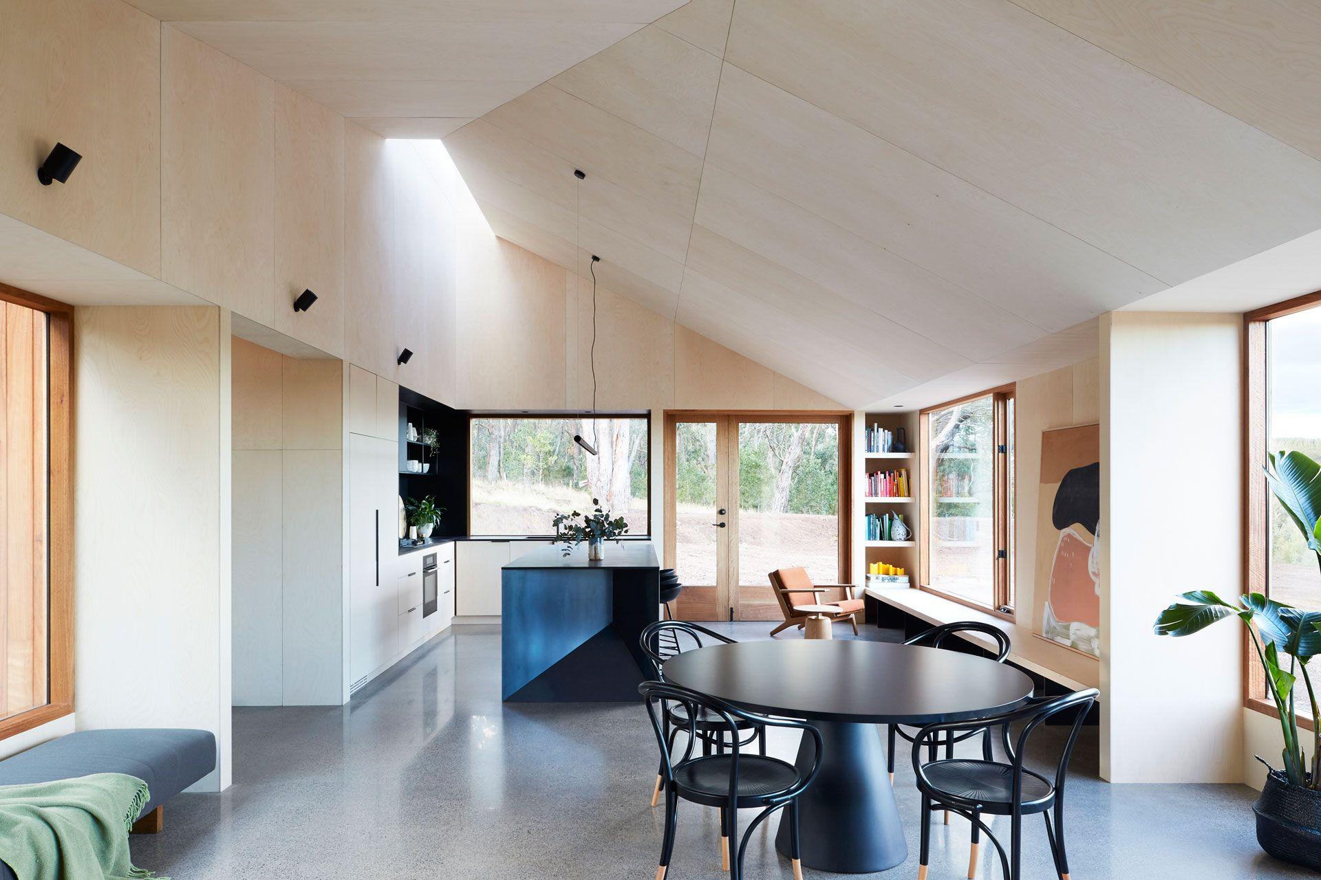 Two Halves House · InnenausbauPrivatAustralische ArchitekturHaus Der  ArchitekturPavillonKleine HäuserEsszimmerstühleEsszimmerModernes Holzhaus