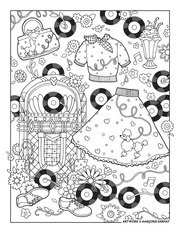 Marjorie Sarnat S Fanciful Fashions Coloring For Everyone Rock