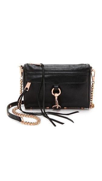 Rebecca Minkoff Mini Mac Crossbody Bag With Rose Gold Hardware Black Leather Handbags Purses