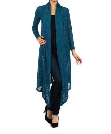 Look what I found on #zulily! Teal Sheer Textured Open Duster by Pretty Young Thing #zulilyfinds