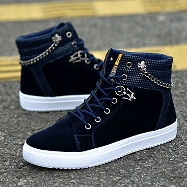 Fashionable Lace Up High-Top Canvas Casual Shoes